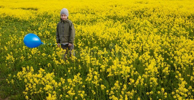 Un niño con un globo azul en un campo amarillo fotos de archivo libres de regalías