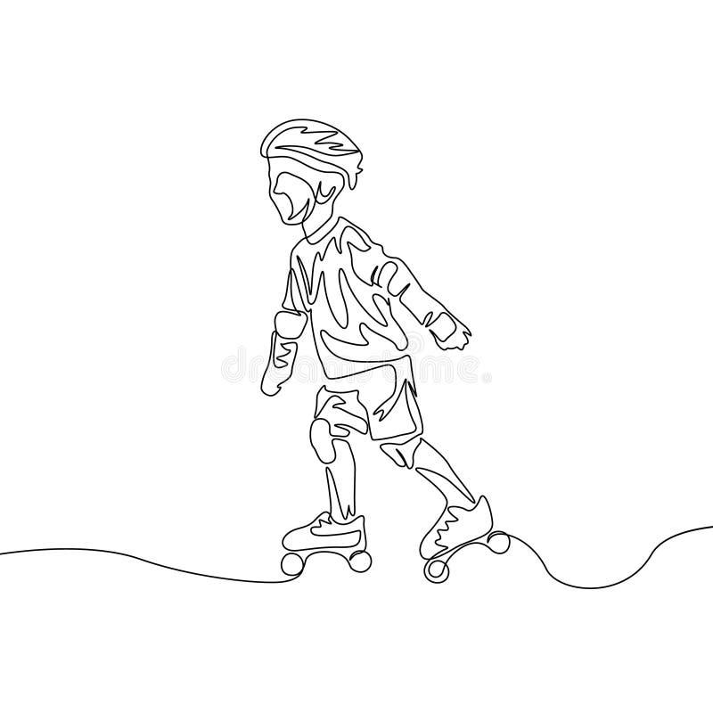 Un niño continuo del dibujo lineal en proteger la ropa rollerblading Tema del deporte ilustración del vector