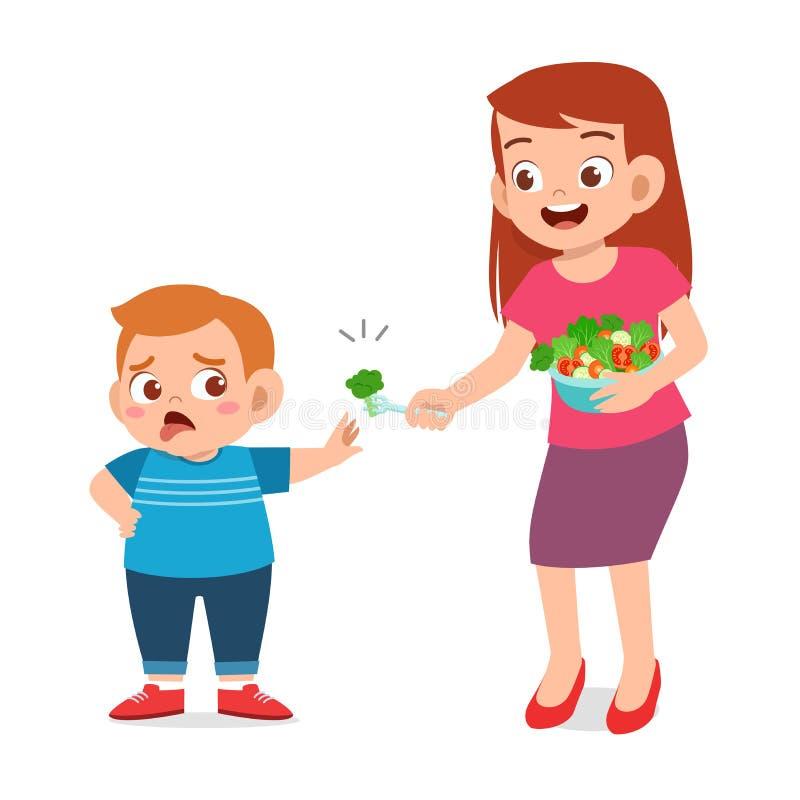 un niño gordo lindo rechaza comida fresca saludable stock de ilustración