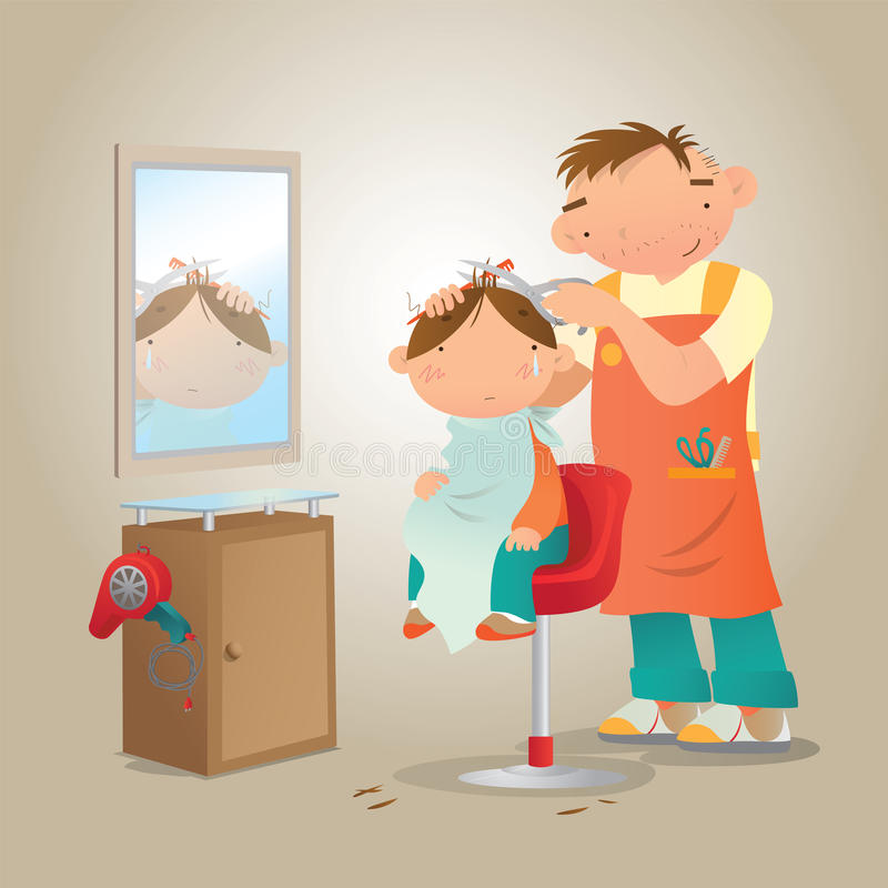 Un niño pequeño consigue un corte de pelo infeliz ilustración del vector