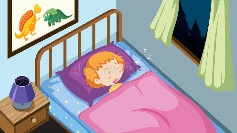 Un niño que duerme en dormitorio ilustración del vector
