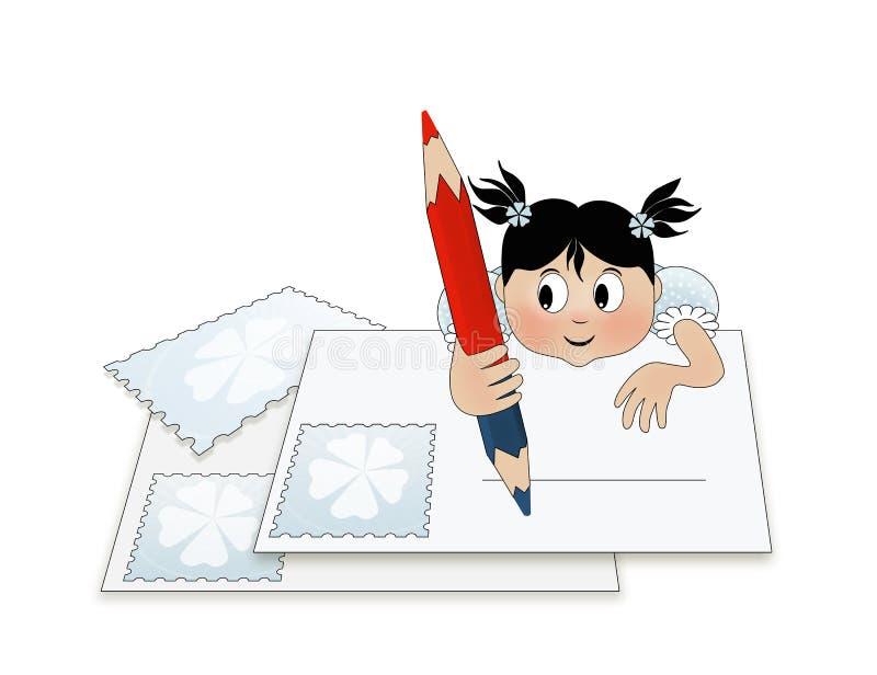 Un niño que escribe una letra (a santa) ilustración del vector