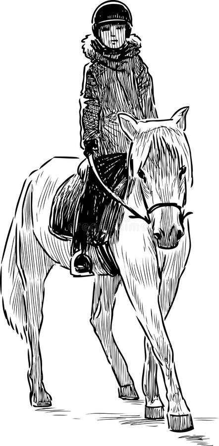 Un niño que monta un caballo stock de ilustración