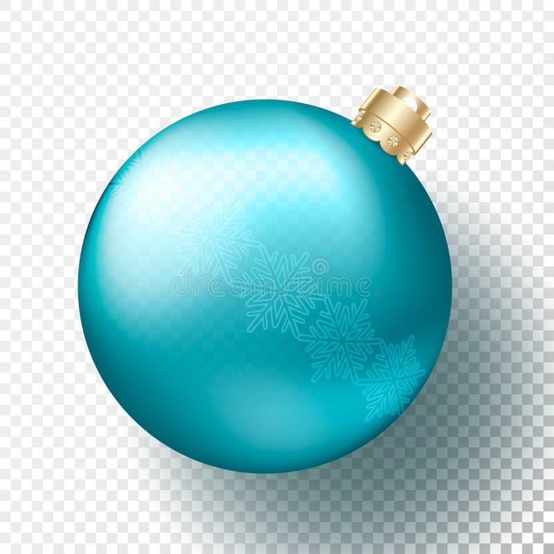 Un Noël réaliste ou babiole de nouvelle année, sphères ou boules transparentes dans la couleur bleue lumineuse métallique avec de illustration de vecteur