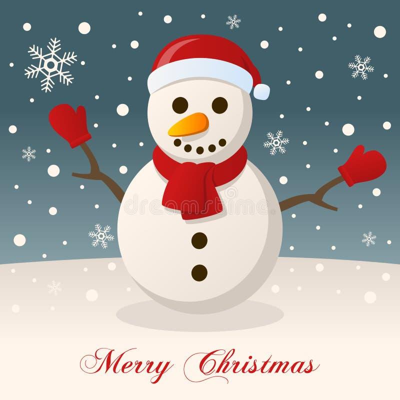 Un Noël très Joyeux avec un bonhomme de neige illustration de vecteur