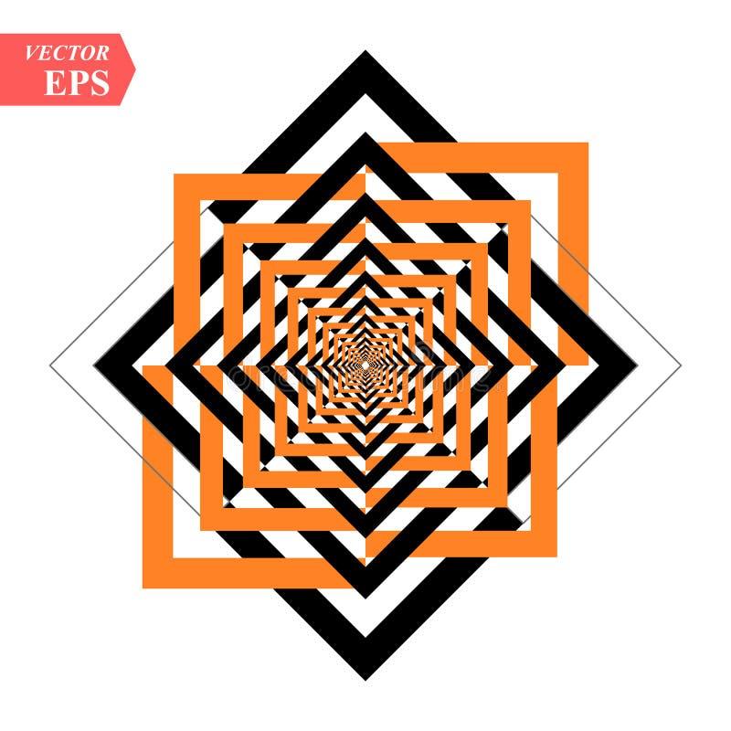 Un noir et un tunnel orange de soulagement Illusion optique Illustration de vecteur Places noires et oranges EPS10 illustration stock