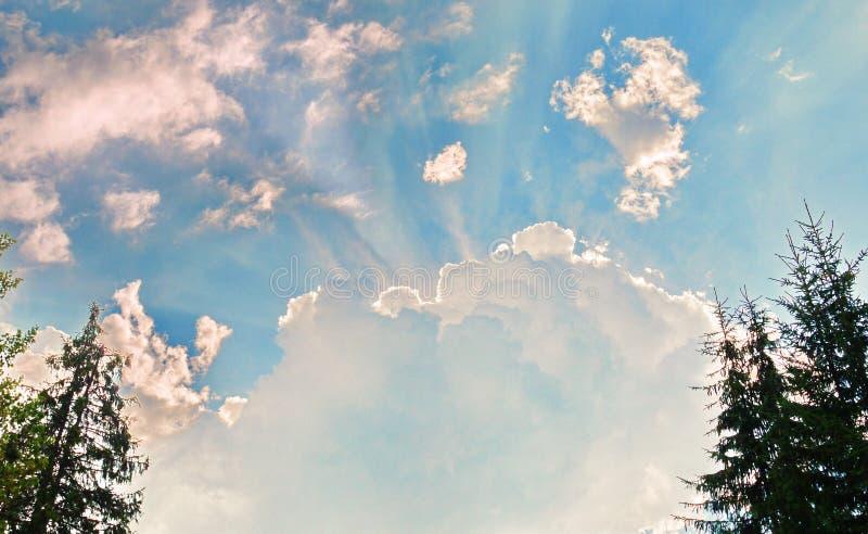Un nuage blanc léger dans le ciel et un rayon de soleil brillant par derrière elle images libres de droits