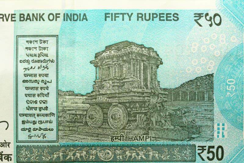 Un nuevo billete de banco de la India con una denominación de 50 rupias indio fotos de archivo libres de regalías