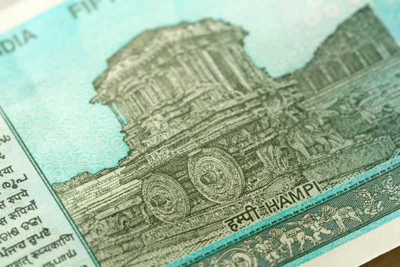Un nuevo billete de banco de la India con una denominación de 50 rupias indio imágenes de archivo libres de regalías