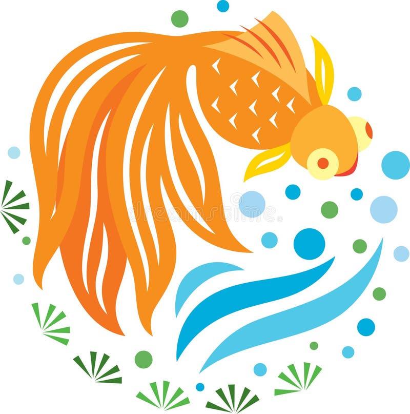 Un nuoto dorato dei pesci nello stagno illustrazione for Pesci per stagno