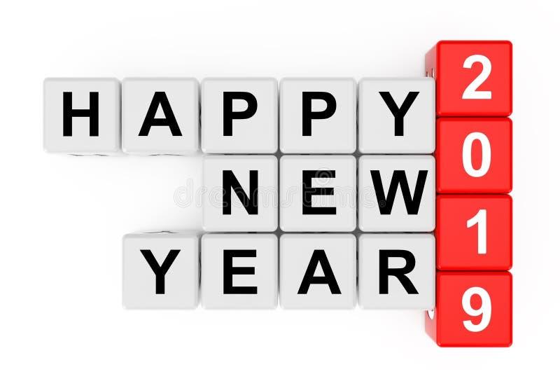 Un nuovo concetto di 2019 anni Segno del buon anno 2019 come parole incrociate Blo royalty illustrazione gratis