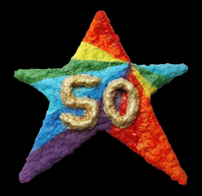 Un 50.o regalo de cumpleaños hermoso hecho de la celulosa ilustración del vector