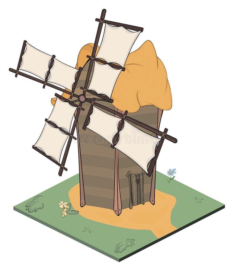 Un objet de jeu vidéo : un vieux moulin à vent illustration libre de droits