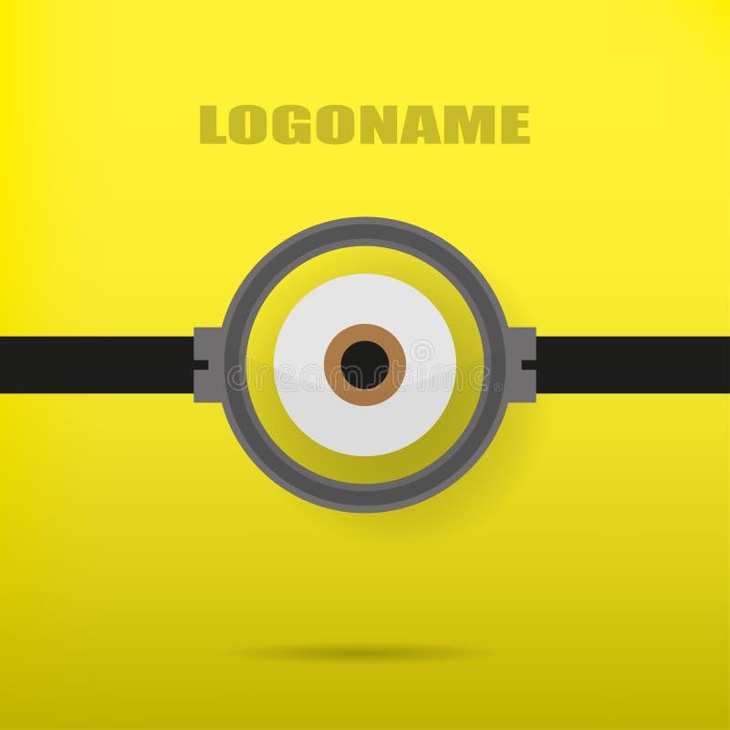 Un occhio su un'illustrazione gialla del fondo del logo alla moda illustrazione di stock