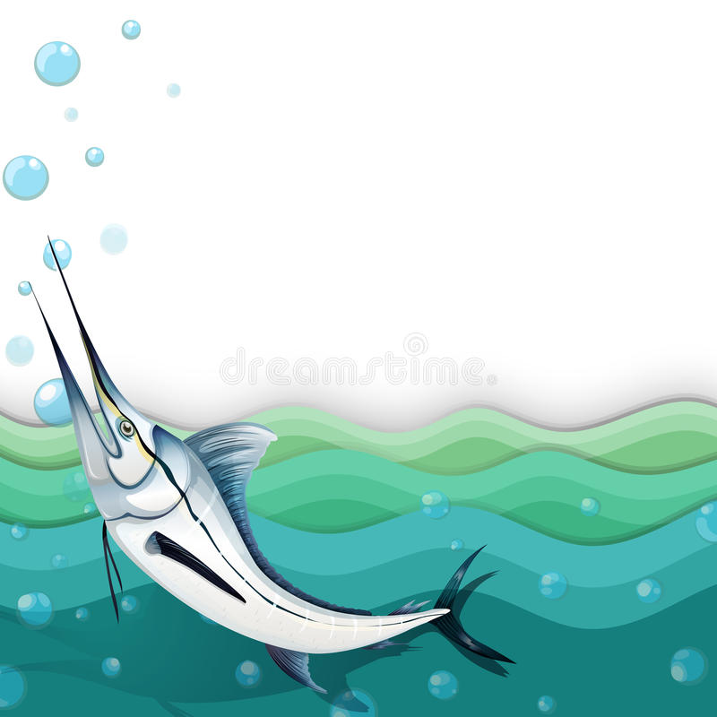 Un oceano con un grande pesce royalty illustrazione gratis
