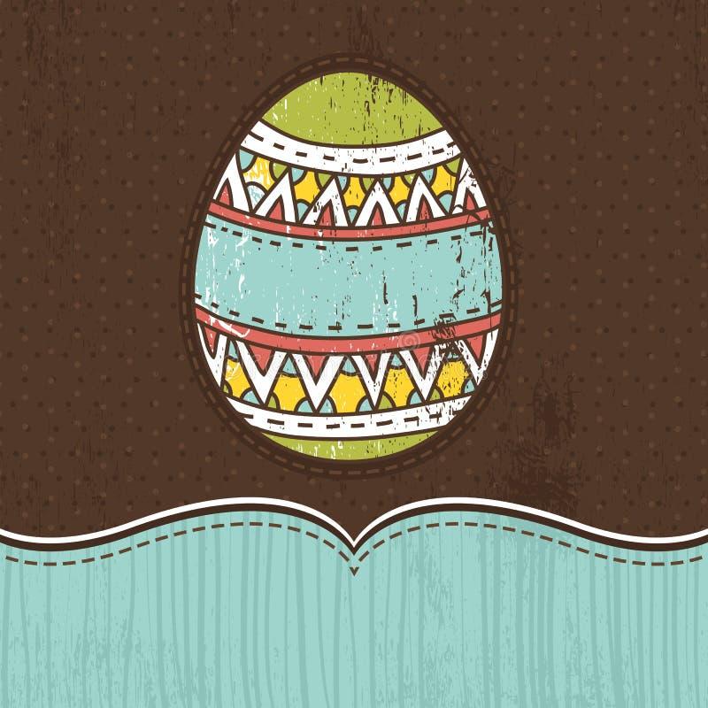 Un oeuf de pâques au-dessus de fond brun illustration de vecteur