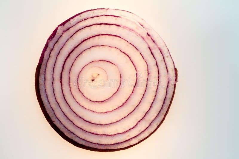 Un oignon rouge coupé en tranches dans le contre-jour image stock