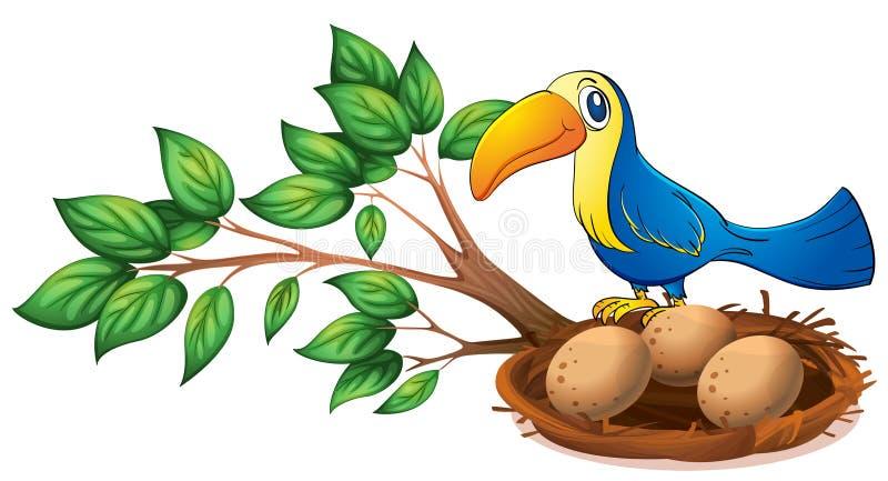 Un oiseau bleu au-dessus de la branche d'un arbre illustration stock