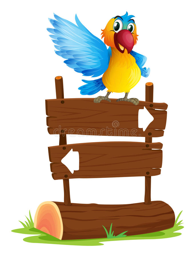 Un oiseau coloré et l'enseigne illustration stock