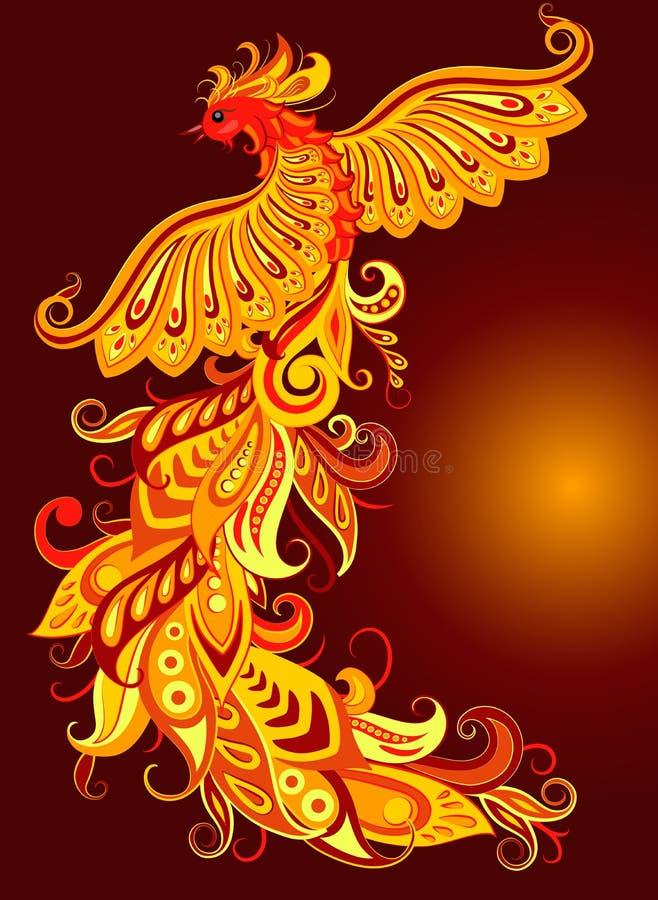 Un oiseau mythique du feu photo stock