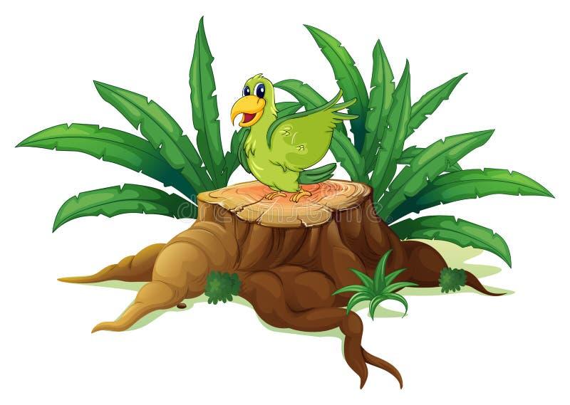 Un oiseau vert au-dessus d'un tronc illustration stock