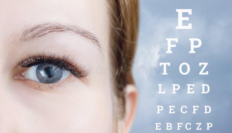 Un ojo con el interior de la lente de contacto imagenes de archivo