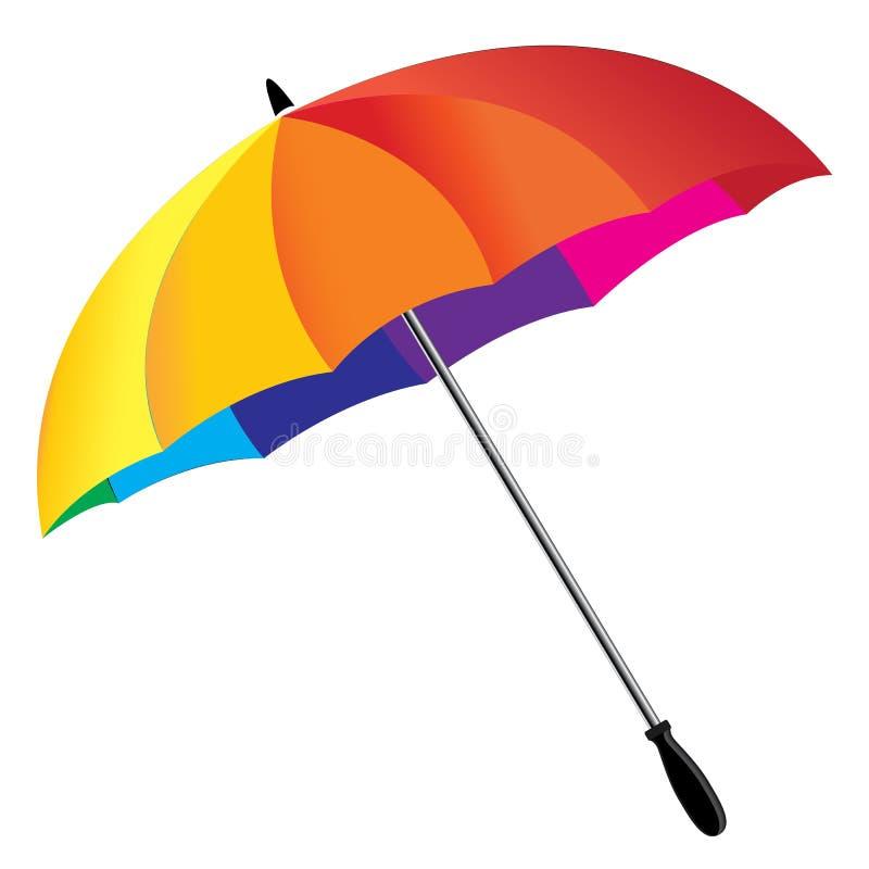 Un ombrello dell'arcobaleno isolato su fondo bianco Ombrello del Rainbow royalty illustrazione gratis