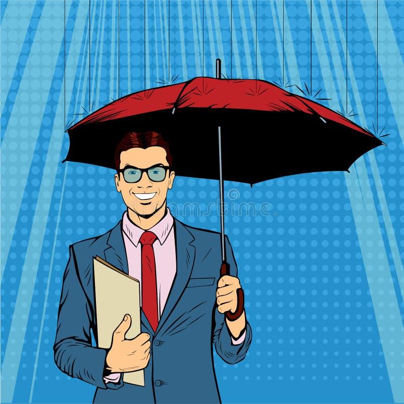 Un ombrello diritto della tenuta dell'uomo d'affari che protegge i suoi soldi agli investimenti illustrazione vettoriale