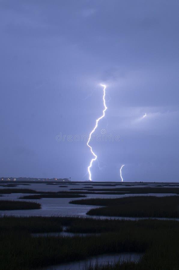 Un orage épique produit des grèves surprise frappant Galvesto photo libre de droits