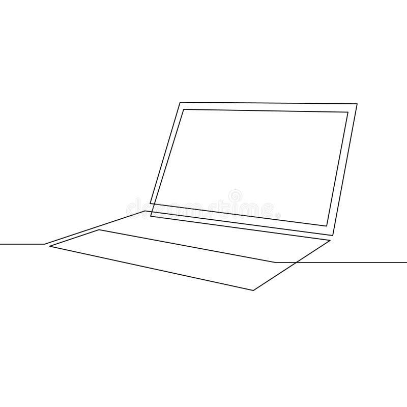 Un ordenador port?til continuo del dibujo lineal Ilustraci?n del vector ilustración del vector