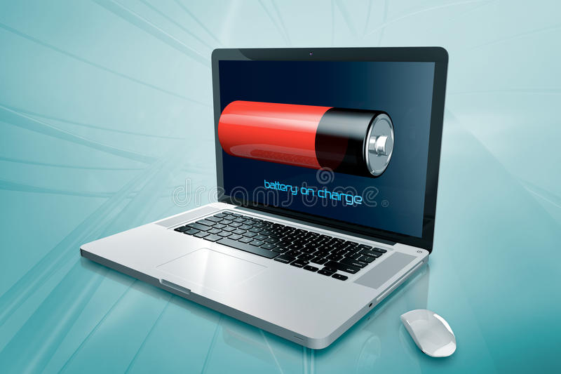 Un ordinateur portable avec la batterie sur l'écran photographie stock libre de droits