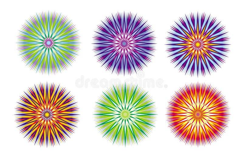 un ornamento circolare elegante di 6 mandale fractal Illustrazione di vettore illustrazione di stock