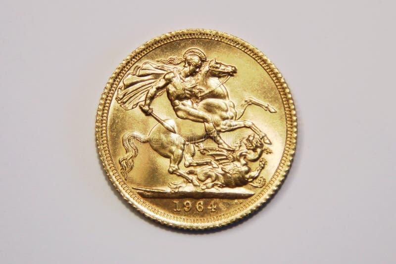 Un oro di sterlina britannica, vecchio tipo, 1964 fotografia stock libera da diritti