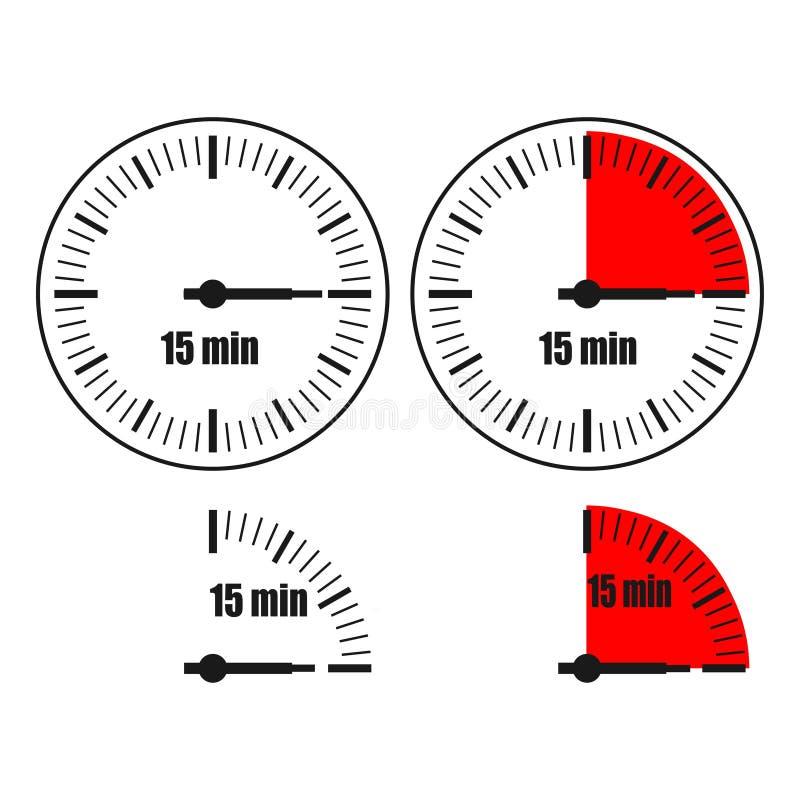 Un orologio di quindici minuti su fondo bianco illustrazione vettoriale