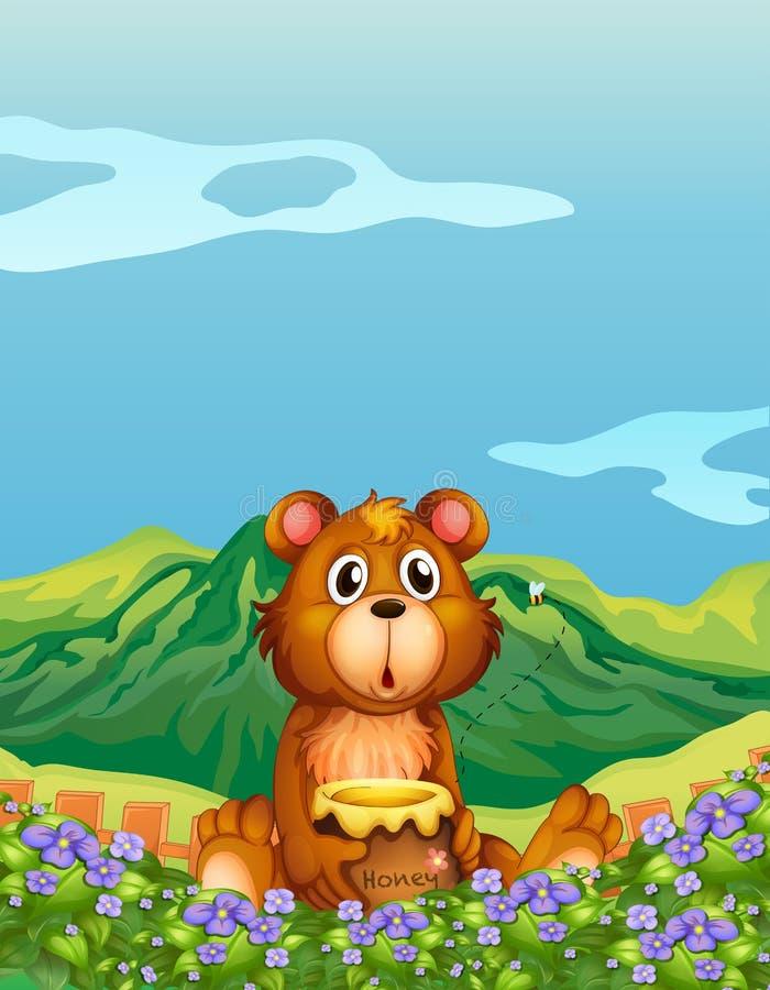 Un orso alla piantagione del fiore illustrazione di stock