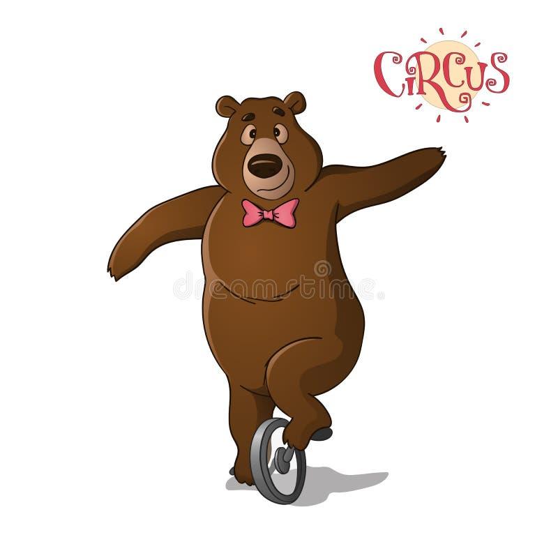 Un orso bruno del circo che guida un monociclo illustrazione vettoriale
