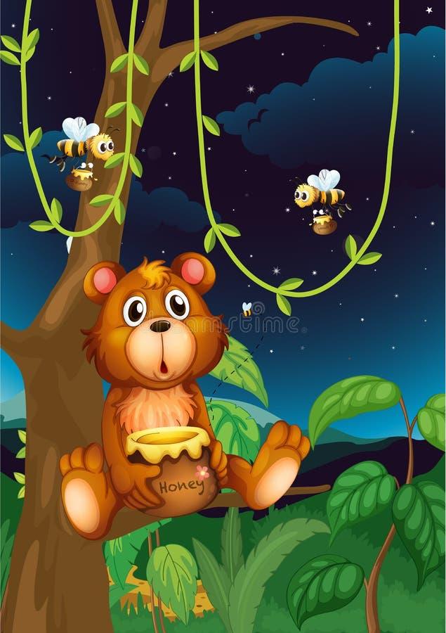 Un orso e api illustrazione vettoriale