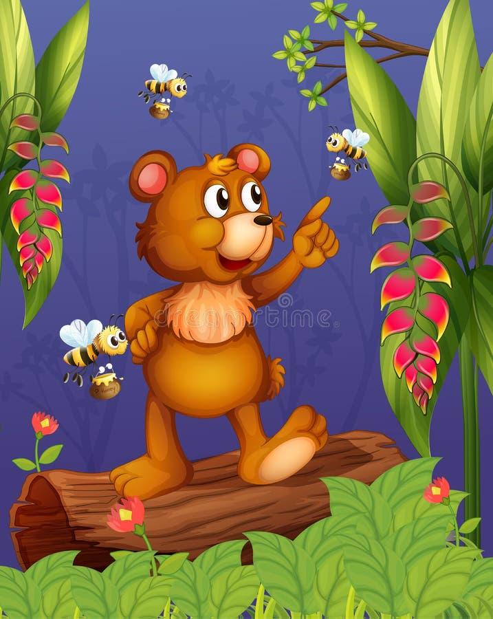 Un orso e api nella foresta illustrazione di stock