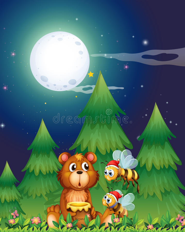 Un orso vicino ai pini con le api di Santa illustrazione vettoriale