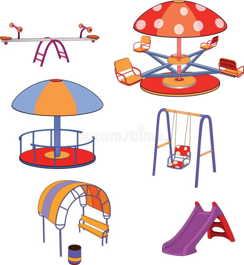 Un oscilación el conjunto completo de los niños. Dibujos animados stock de ilustración