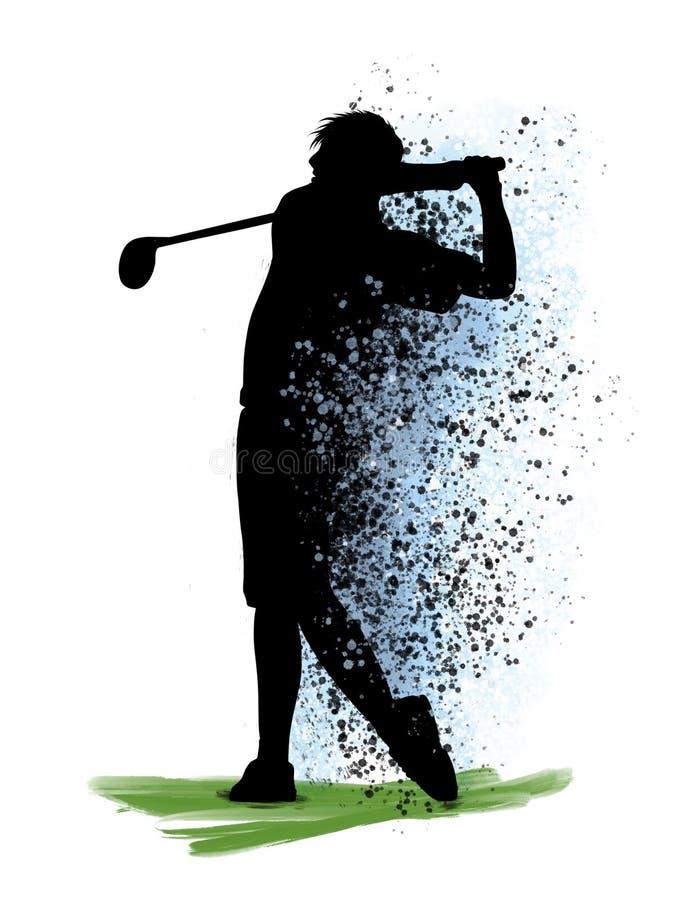 Un'oscillazione golfing di golf del giocatore di golf dell'uomo nello studio della siluetta isolato su fondo bianco royalty illustrazione gratis
