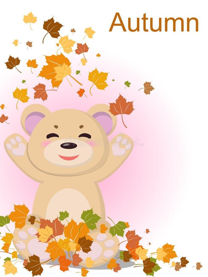 Un oso bonito con una sonrisa está contento con la llegada de otoño y el amarillo caido se va de los árboles stock de ilustración