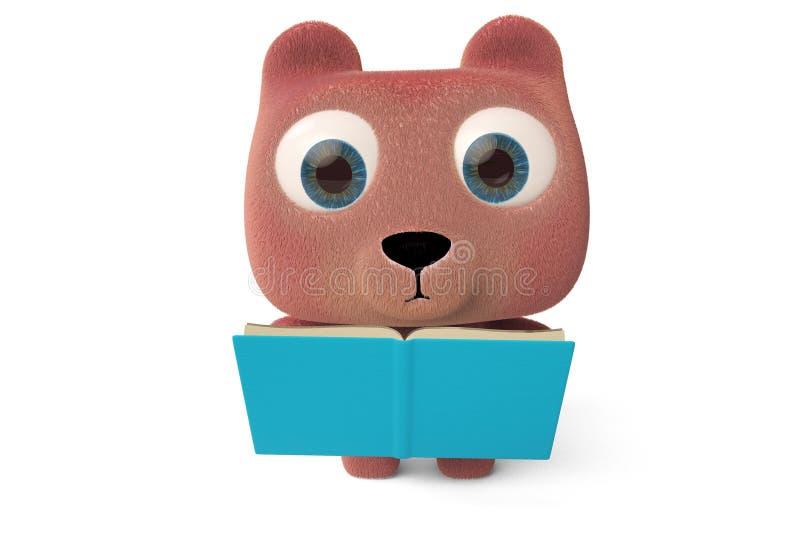 Un oso de peluche agradable que lee un libro libre illustration