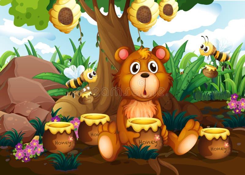 Un oso lindo debajo del árbol con las abejas y los potes de miel stock de ilustración