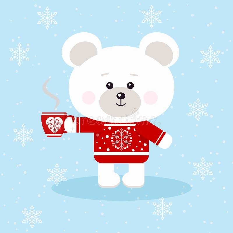 Un oso polar de la Navidad linda en suéter rojo con la taza roja de té o de café en fondo de la nieve en estilo plano de la histo ilustración del vector