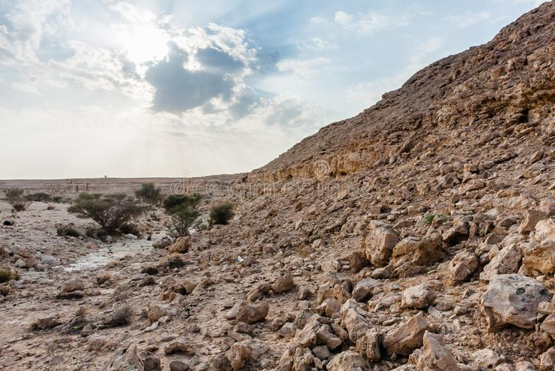 Un oued pr?s d'Abu Jifan Fort, province de Riyadh, Arabie Saoudite photo libre de droits