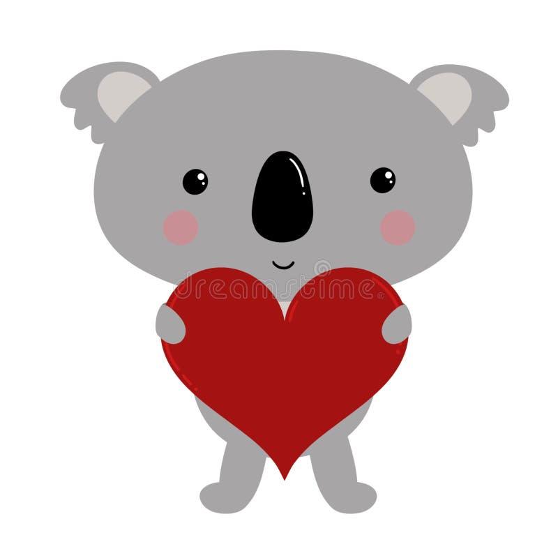 Un ours de koala mignon tenant un coeur d'amour avec l'espace pour ajouter votre texte illustration de vecteur