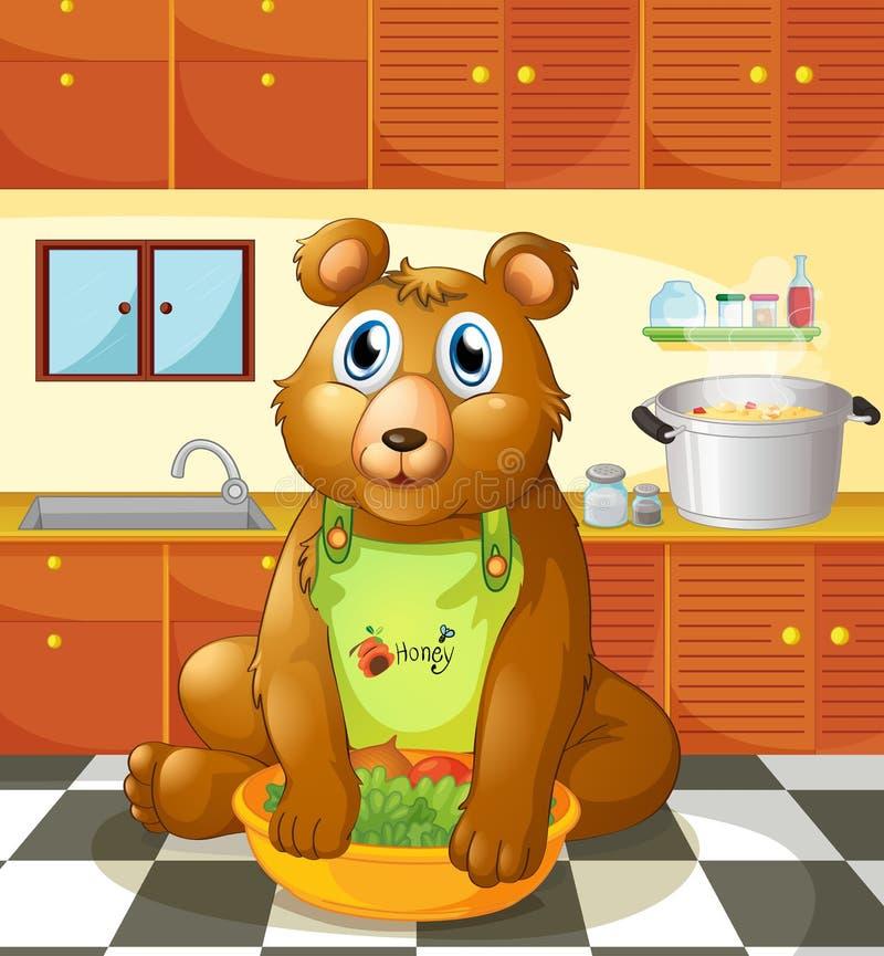 Un ours tenant une cuvette de légumes à l'intérieur de la cuisine illustration stock