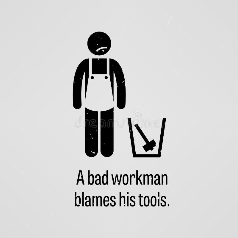 Un ouvrier du mauvais blâme ses outils illustration libre de droits