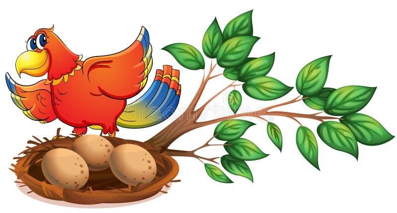 Un pájaro colorido en la rama de un árbol con una jerarquía libre illustration